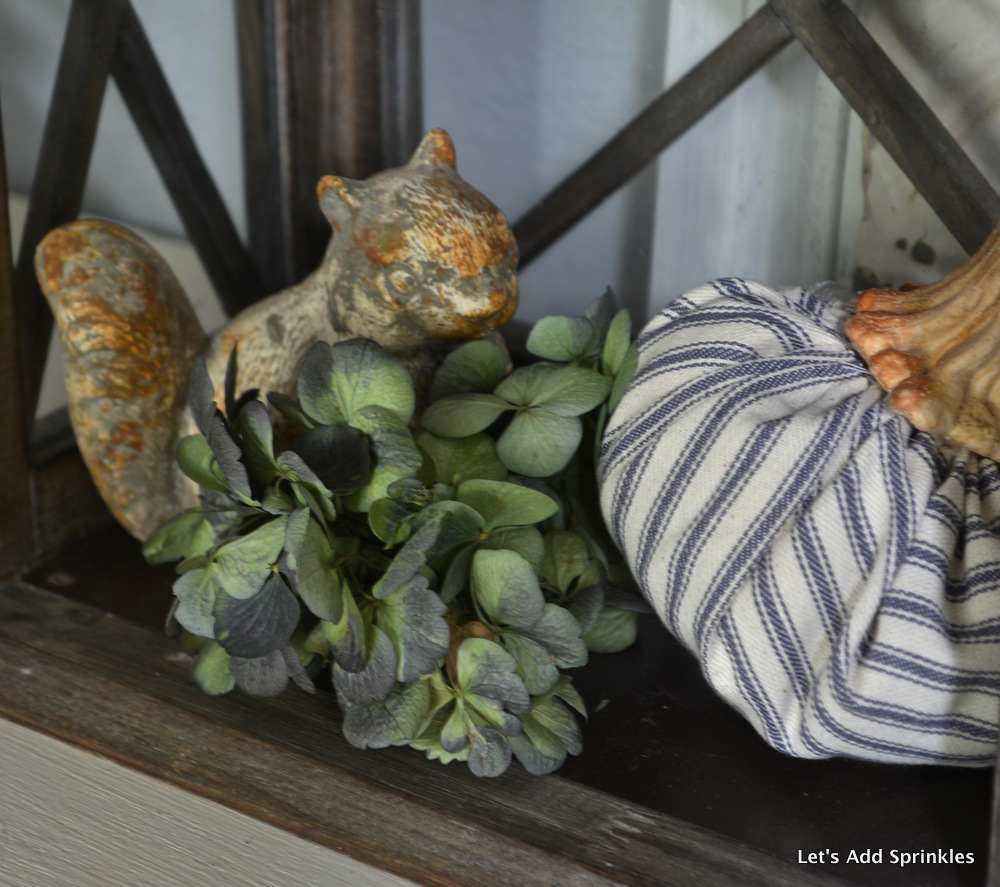 Fall Display, Squirrel, Pillow Ticking Pumpkin