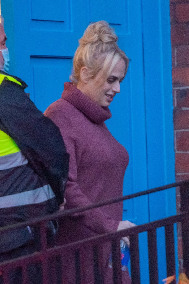 Rebel Wilson Clicked on the Set of The Almond And The Sea Horse in Wrexham 12 Apr-2021