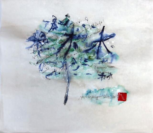 Zartes Gemälde, abstrakt mit Text