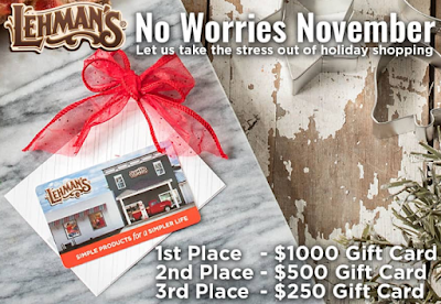 Lehman's wants to erase all the stress of the Holiday Season this year so they're giving away gift cards worth up to $1000 to spend on your holiday gift list!
