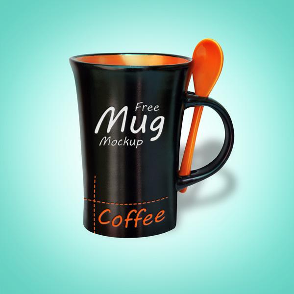 Black Mug PSD Mockup