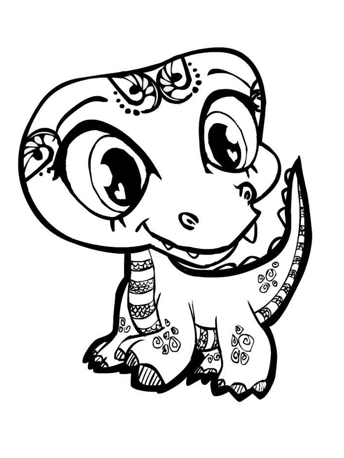 Cute Smiling Alligator Kids Coloring Pages