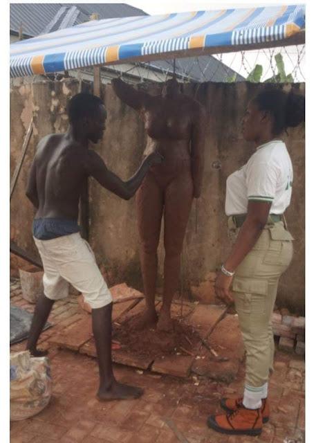 Arigbede Ojo Olaropo Makes A Hyper-Realistic Statue Of A Female Corper (Photos)