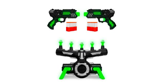 Best Choice Products Glow-in-the-Dark Foam Dart Blasters & Floating Target Set w/ 24 Darts, 2 Blasters & Dart Clips