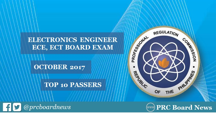 RESULTS: October 2017 Electronics Engineer ECE, ECT board exam top 10 passers