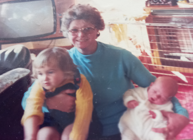 My great aunt, brother and me.