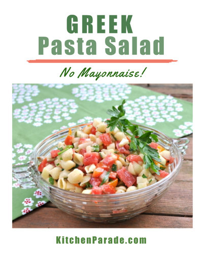 Greek Pasta Salad with Creamy Feta Vinaigrette, another classic summer salad ♥ KitchenParade.com, loaded with vegetables in a tangy-creamy feta vinaigrette.