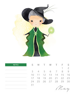 Calendario 2020 de Harry Potter para Imprimir Gratis.