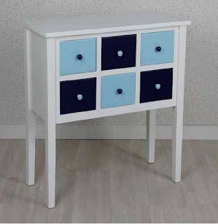 Consola 6 Cajones Azul Blanco Amodai