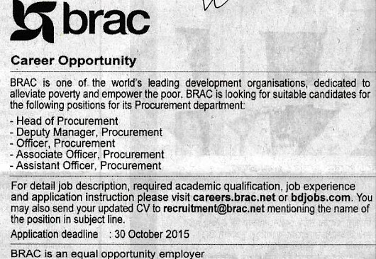 BRAC, Post: Head of procurement, Deputy manager, Officer.