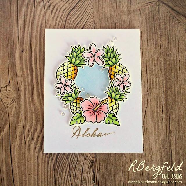 Sunny Studio Stamps: Tropical Paradise Pineapple Wreath Card by Rachel Bergfeld.