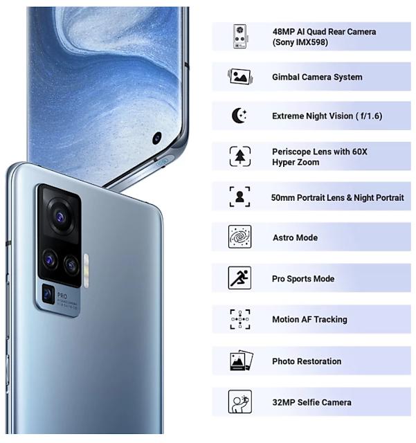 Garda Camera वाला Smartphone है Vivo x50 Pro 5G जोकि 8GB रैम और 256 जीबी इंटरनल स्टोरेज के साथ 48 मेगापिक्सल का क्वॉड Camera भी है प्री बुकिंग आज से फ्लिपकार्ट पर।