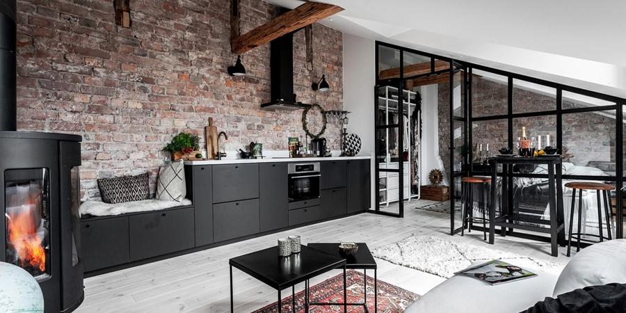 Mieszkanie na poddaszu w loftowym klimacie, wystrój wnętrz, wnętrza, urządzanie domu, dekoracje wnętrz, aranżacja wnętrz, inspiracje wnętrz,interior design , dom i wnętrze, aranżacja mieszkania, modne wnętrza,