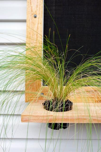 How to:  Cedar Window Frames with Floating Shelf Planters.