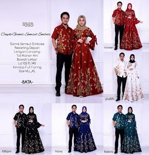 Baju Batik Couple Gamis Muslim Kode 2393