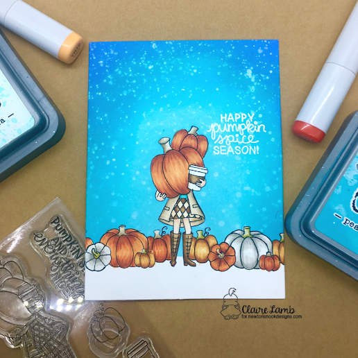 Happy pumpkin spice season by Claire features Signs of Fall and Pumpkin Latte by Newton's Nook Designs; #inkypaws, #newtonsnook, #cardmaking, #coffeeloverscards, #autumncards