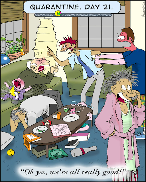 "Family of  five adults and two kids in a small messy apartment. three adults are having a shouting match, one is on his knees covering his head. the baby is screaming on the couch. the toddler is chewing on the coffee table. and in the foreground a frazzled lady in rumpled pink bathrobe and pajamas says into the cellphone:  ""Oh yes, we're all really good!"""