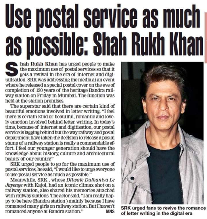 Shahrukh Khan states that use postal service as you can