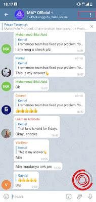 1. Untuk keluar dari grup, langkah pertama silakan kalian buka grup Telegram nya lalu klik ikon titik tiga di pojok kanan atas
