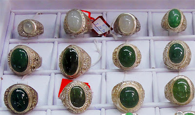 Green and white Jadeite Cabochon Rings