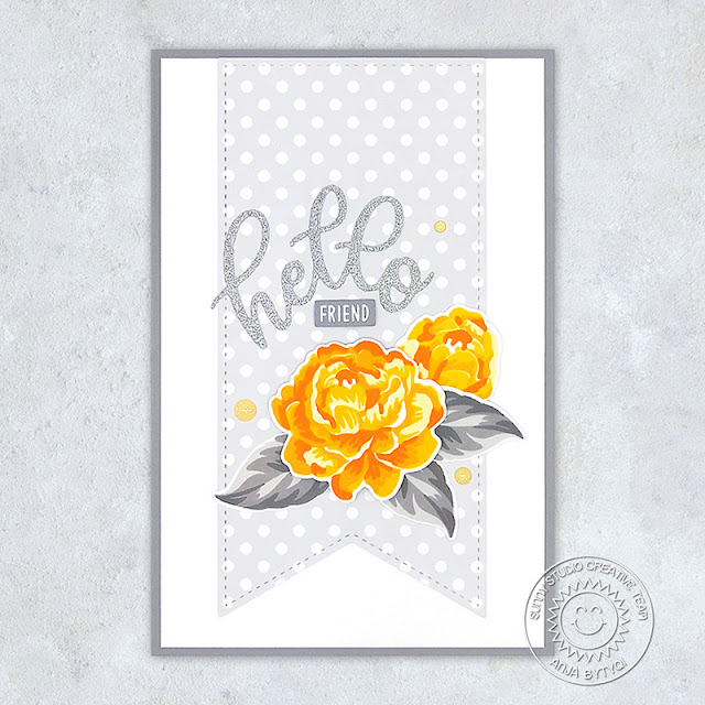 Sunny Studio Stamps: Layered Flower Hello Card by Anja (using Captivating Camellias Stamps, Slimline Pennant Dies, Slimline Scalloped Frame Dies & Subtle Grey Tones Paper)
