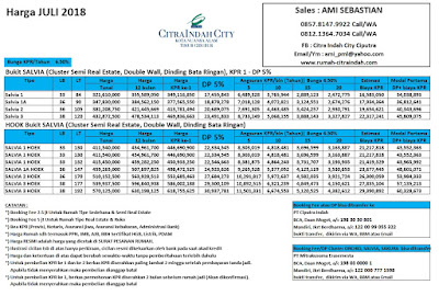 Harga SALVIA Citra Indah City Juli 2018