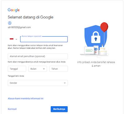 langkah ke tiga membuat akun google