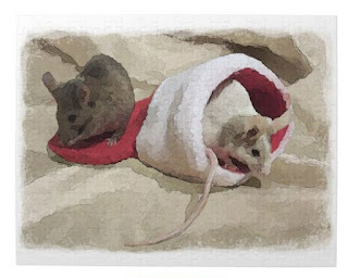 """""""Christmas Mice"""" Puzzle artistically edited photo, painterly watercolor effect"""