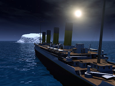 From deck of Titanic looking towards iceberg in moonlight