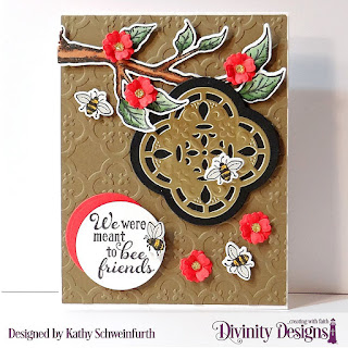 Stamp/Die Duos: Bee-lieve Custom Dies: A2 Portrait Card Base with Layer, Matting Rectangle, Circles, Bitty Blossoms Embossing Folder/Die Duo: Quatrefoil