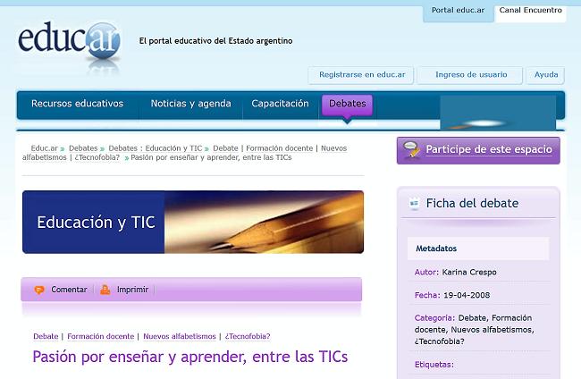 http://portal.educ.ar/debates/educacionytic/debate/pasion-por-ensenar-y-aprender-1.php