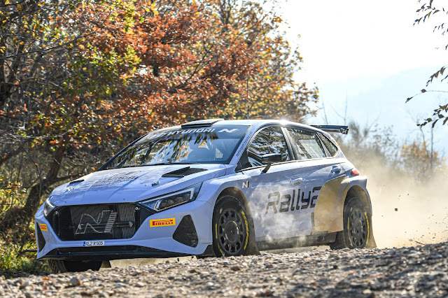 Hyundai i20 Rally2 testing on gravel stages