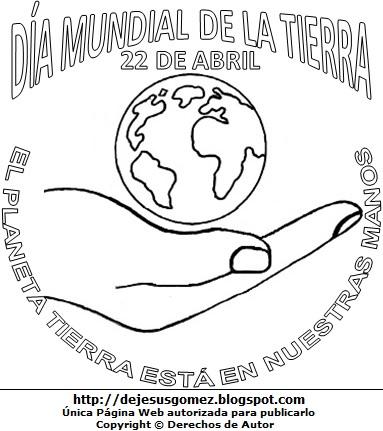 Dibujo al Día Mundial de la Tierra para colorear y con lema. Imagen del Día Mundial de la Tierra hecha por Jesus Gómez