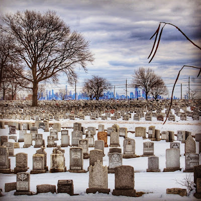 Cemetery, with New York in the distance
