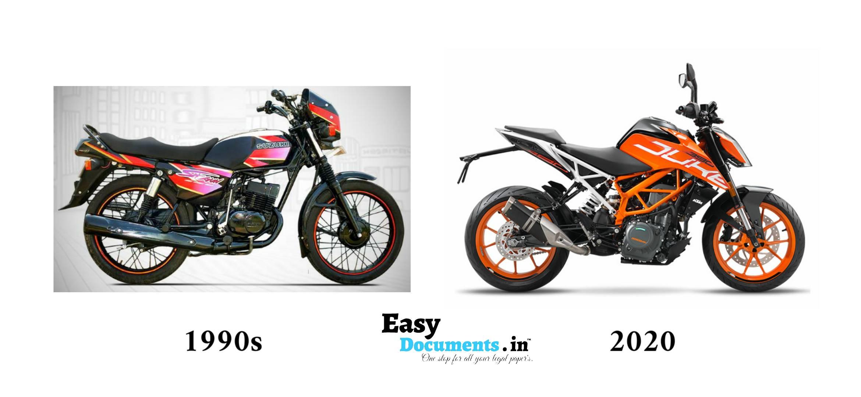 Motorcycle in 90s vs 2020