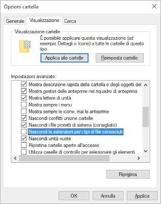 Windows 10: come vedere le estensioni dei file