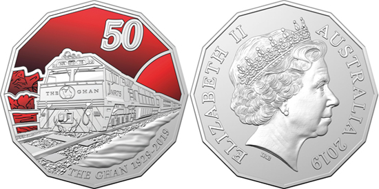 Australia 50 cents 2019 90th Anniversary of The Ghan