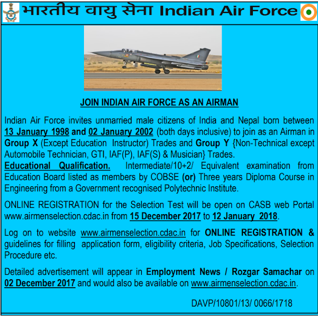 Indian Air Force Airman Recruitment 2017-18 Group X, Y Online Form
