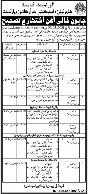 Culture Tourism Antiquities and Archives Department Jobs Sindh 2021