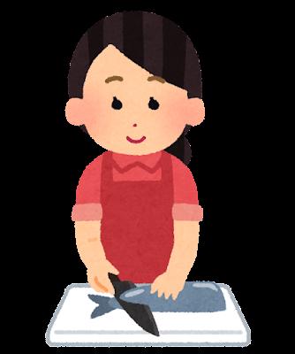 魚を切る人のイラスト(女性)