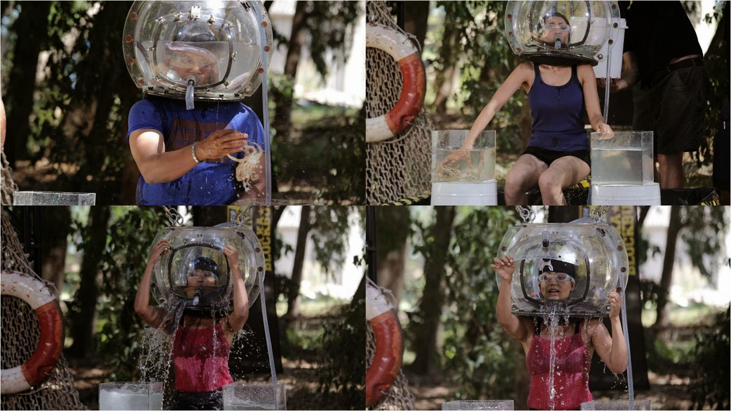 Water and eels in a round box covering face of Khatron Ke Khiladi contestant who has to shift crabs from one to another glass box in Bheja Fry stunt