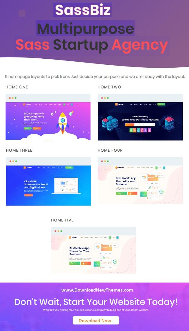SassBiz – Software, App & Startup Responsive Sass Template
