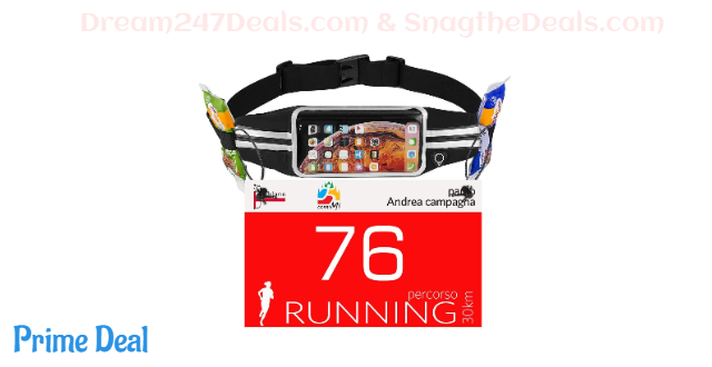 70% off Newppon Running Belt Phone Pouch : Runner Race Belt Waist Pack with Water Resistant Reflective Light weight for iPhone Xs Max XR X 8 7 6 Plus Samsung Galaxy Note for Sport Travel Workout for Men Women