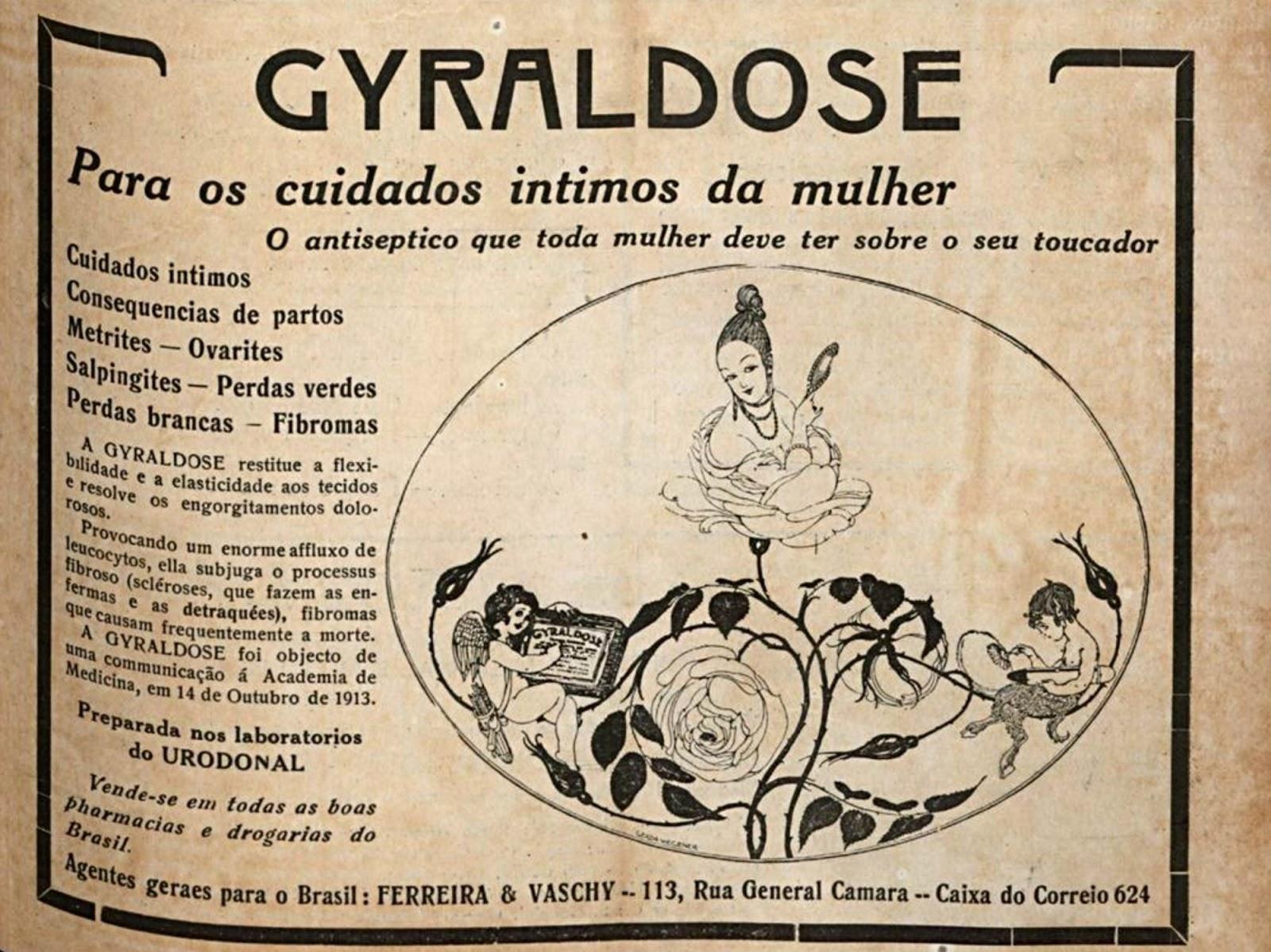Propaganda antiga do Gyraldose que buscava cuidar da saúde das mulheres