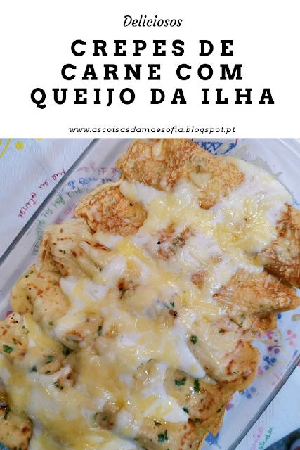 Deliciosos crepes de carne com queijo da ilha e mozzarella