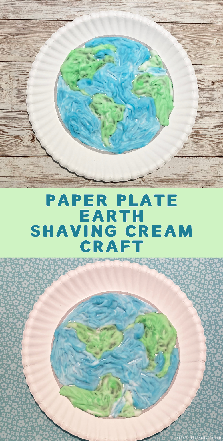 Easy earth day craft. Earth paper plate craft for kids. Earth template and shaving cream craft