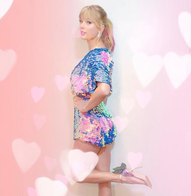 Taylor Swift in sequins and butterfly heels