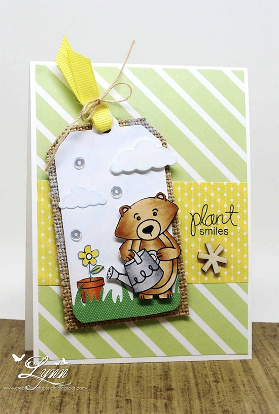 Plant Smiles card by Lynn | Garden Whimsy Stamp set by Newton's Nook Designs #newtonsnook