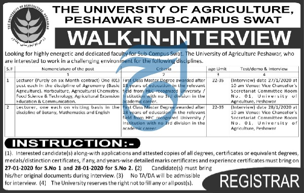 Jobs in The University of Agriculture Peshawar Walk In Interview 2020