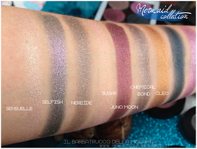 swatches eyeshadow  - MERMAID COLLECTION - NABLA COSMETICS